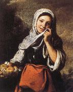 Bartolome Esteban Murillo Rural girls and flower basket oil painting reproduction