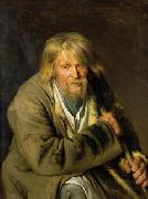 Ivan Kramskoi Old man with a crutch, painting