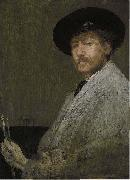 James Abbott Mcneill Whistler Arrangement in Gray Portrait of the Painter oil on canvas