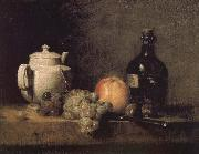 Jean Baptiste Simeon Chardin Teapot white grape apple bottle knife and Paris oil painting reproduction