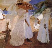 Joaquin Sorolla On the beach painting