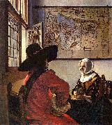 Johannes Vermeer Officer and a Laughing Girl, painting
