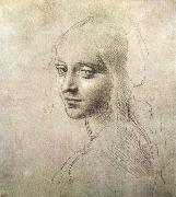 LEONARDO da Vinci Head of a girl painting