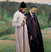 Mikhail Nesterov Philosophers depicts Symbolist thinkers Pavel Florensky and Sergei Bulgakov china oil painting reproduction