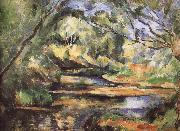 Paul Cezanne of the river through the woods painting