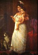 Raja Ravi Varma The Lady in the picture is Mahaprabha Thampuratti of Mavelikara, oil