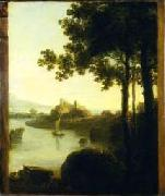 Richard Wilson River Scene with Castle, oil