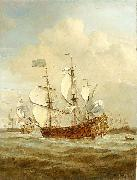 VELDE, Willem van de, the Younger HMS St Andrew at sea in a moderate breeze, painted painting