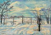 Waldemar Rosler Landscape in lights fields in the winter oil