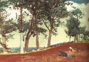 Winslow Homer Houses and trees painting