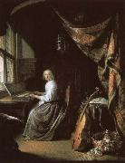 christian schubart a 17th century dutch painting by gerrit dou of woman at the clvichord. oil on canvas