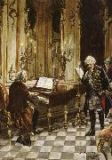 franz schubert a romanticized artist s impression of bach s visit to frederick the great at the palace of sans souci in potsdam oil painting reproduction