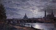 johann christian Claussen Dahl View of Dresden at Full Moon oil on canvas