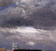 johann christian Claussen Dahl Cloud Study, Thunder Clouds over the Palace Tower at Dresden oil on canvas