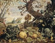 Abraham Bloemaert Landscape with fruit and vegetables in the foreground oil painting