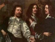 DOBSON, William The Painter with Sir Charles Cottrell and Sir Balthasar Gerbier about oil on canvas