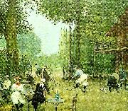 Jean Beraud the cycle hut in the bois de boulogne, c. oil painting reproduction