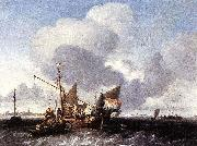 Ludolf Backhuysen Ships on the Zuiderzee before the Fort of Naarden oil on canvas