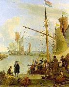Ludolf Backhuysen The Y at Amsterdam, seen from the Mosselsteiger (mussel pier). oil on canvas