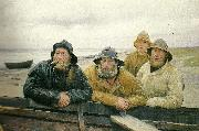 Michael Ancher fire fiskere ved en bad pa skagens strand china oil painting reproduction