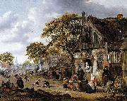 Salomon Rombouts A Village Street Scene oil
