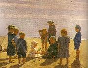 einar hein legende born pa skagens strand oil on canvas