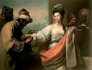 Benjamin West Isaac's servant trying the bracelet on Rebecca's arm oil painting reproduction