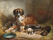 Benno Adam Bernese Mountain Dog and Her Pups oil painting reproduction