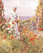 Childe Hassam Celia Thaxter in Her Garden, oil painting reproduction