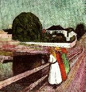 Edvard Munch flickor pa bron oil painting reproduction