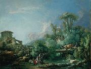 Francois Boucher The Gallant Fisherman, known as Landscape with a Young Fisherman oil painting reproduction