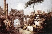 Giuseppe Zais Ancient Ruins with a Great Arch and a Column oil