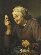 Hendrick Bloemaert Old woman selling eggs oil painting reproduction