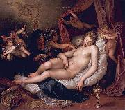 Hendrick Goltzius Danae receiving Jupiter as a shower of gold. oil on canvas