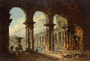 Hubert Robert Ancient Ruins Used as Public Baths oil on canvas