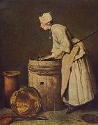 Jean Simeon Chardin Frau, Geschirr scheuernd oil on canvas