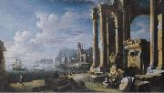 Leonardo Coccorante A capriccio of architectural ruins with a seascape beyond oil on canvas
