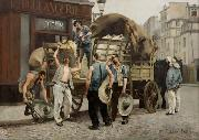 Louis Carrier-Belleuse Porteurs de farine. Scxne parisienne (Flour carriers. Scene from Paris). oil on canvas