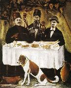 Niko Pirosmanashvili Feast in the Grape Pergola or Feast of Three Noblemen oil painting