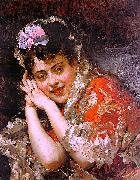 Raimundo Madrazo The Model Aline Masson with a White Mantilla oil