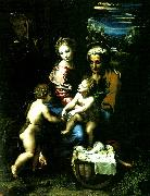 Raphael holy family with st john the baptist painting