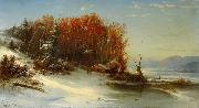 Regis-Francois Gignoux First Snow Along the Hudson River oil