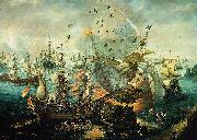 WIERINGEN, Cornelis Claesz van explosion of the Spanish flagship during the Battle of Gibraltar oil on canvas