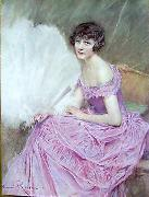 unknow artist Henri Royer Jeune fille painting