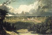 unknow artist Panoramic Landscape with a View of a Small Town oil painting reproduction