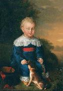 unknow artist Portrait of a young boy with toy gun and dog china oil painting reproduction