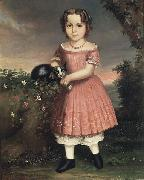 unknow artist Portrait of a Child Holding a Cat oil painting reproduction