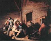 Adriaen van ostade Carousing peasants in a tavern. oil painting reproduction