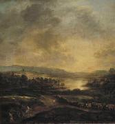 Aert van der Neer Hilly landscape at sunset painting