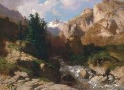 Alexandre Calame Mountain Torrent oil on canvas painting by Alexandre Calame, about 1850-60 oil on canvas